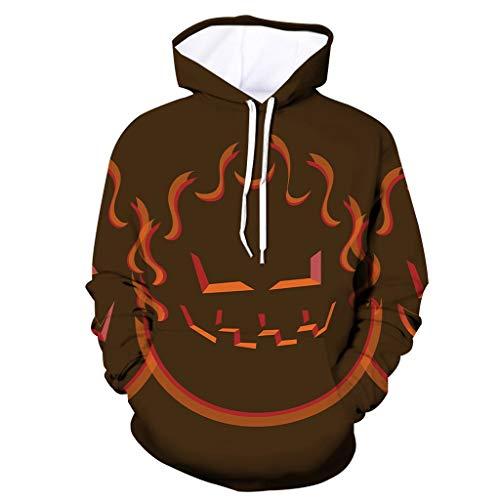 Xmiral Kapuzenpullover Herren 3D Drucken Hoodie Lose Übergröße Pullover mit Tasche Tunnelzug Herbst Winter Tarnmuster Sweatshirts Streetwear Mantel Bluse Tops(a Braun,S)