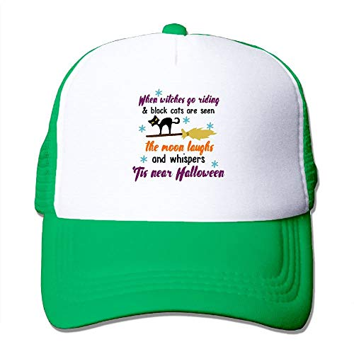 SHALLY When Witches Go Riding Halloween Poem Classic Adjustable Mesh Trucker Hat Unisex Adult Baseball Cap (Running Halloween Aces)