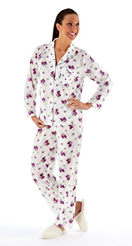 Dickson's Drive Pyjama pour femme avec haut à manches longues et col à revers Motif floral