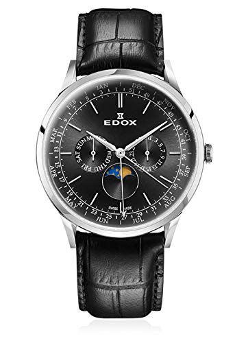 Edox Orologio da polso da uomo Les Vauberts Moon Phase Complication, calendario, fasi lunari, analogico, al quarzo, 40101 3C NIN