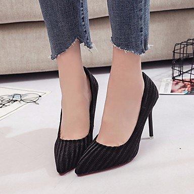 SANMULYH Scarpe Donna Pu Primavera Cadono Comfort Tacchi Stiletto Heel Per Casual Marrone Scuro Nero Nero