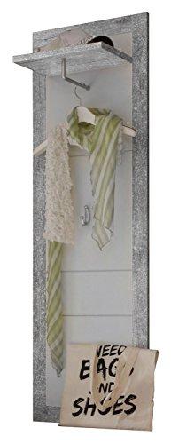 Garderobenpaneel Wandgarderobe Flurgarderobe SMILLA 6 | Weiß Hochglanz | Betonoptik | Kleiderhaken