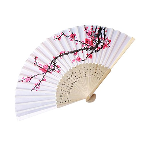 QinMM Vintage Bamboo Folding Hand Blume Fan chinesischen traditionellen Tanz Vintage Bambus Party Pocket Geschenke ()