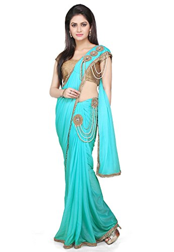 Aarti Saree Pre-Stitched Saree Lycra Saree in Sky Blue With Un-Stitched Running...