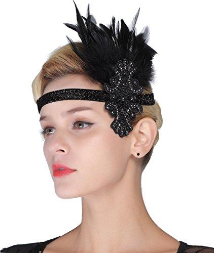 FAIRY COUPLE Feder Silber Kopfschmuck 1920er Jahre Vintage Stirnband Fascinator Flapper Art Deco Schwarz (Passt Verschönert Frauen)