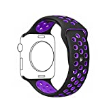 Ontube 42MM Soft Silikon Ersatzband mit Bel¨¹ftungsl?chern f¨¹r Apple Watch Armband Serie 3 Serie 2, Serie 1, Sport, Edition, M/L Schwarz/lila