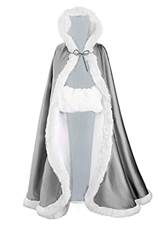 Wedding Hooded Cloak Bridal Cape with Fur Trim Full Length FREE HAND MUFF by BEAUTELICATE Dark