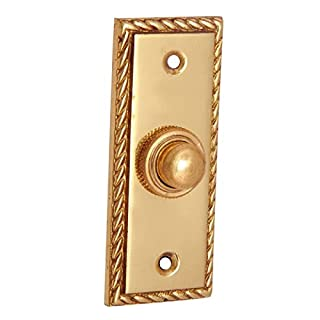 Adonai Hardware Rectangular Georgian Brass Bell Push or Door Bell or Push Button - Polish Lacquered