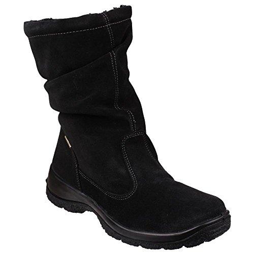 Cotswold Ladies Brockworth Suede Zip Fastening Winter Snow Boot Black Black