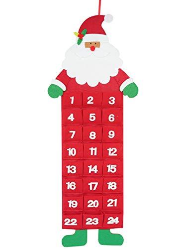 QILICZ Calendario dell'Avvento per riempire Il Calendario di Natale può Essere Riempito Decorazione Natalizia di Babbo Natale, Calendario dell'Avvento per Appendere e Auto-riempire