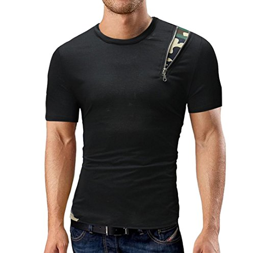 GreatestPAK Solid Color T-Shirt Herren Kurzarm Top Rundhalsausschnitt,Schwarz,M