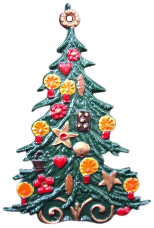 Zinngeschenke Weihnachtsbaum klassisch, beidseitig handbemalt aus Zinn (HxB) 6,0 x 4,0 cm, Baumbehang, Christbaumschmuck