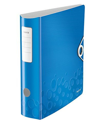 Leitz Multifunktions-Ordner, Blau Metallic, A4, Runder Rücken (8,2 cm Breite), Gummibandverschluss, Kunststoff, WOW, 11060036