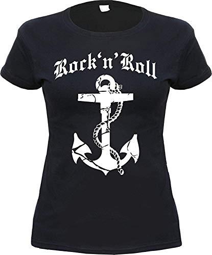 Rock 'N' ROLL Anker Damen T-Shirt Schwarz S