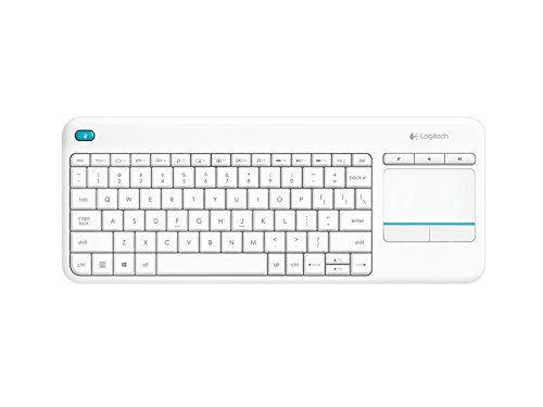 Logitech K400 Plus Clavier sans-fil Azerty pour PC de Salon, Media center et HTPC Blanc