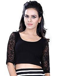 Fressia Fabrics Women's Cotton Saree Blouse Black
