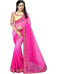 Pink Georgette Designer Embroidred Saree With Blouse