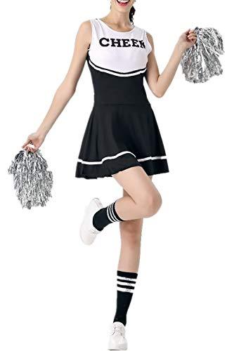 Cheerleader-Kostüm für Damen von Fadirew, Outfit für College, zum Verkleiden, Sport, Schule, Mädchen, Musical, Uniform für Party, Halloween, 6 Farben M schwarz (Mädchen College Für Kostüm-ideen)