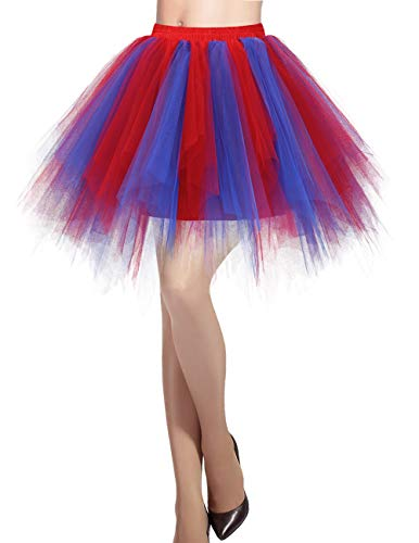 Dresstells Damen Tüllrock 50er Rockabilly Petticoat Tutu Unterrock Kurz Ballett Tanzkleid Ballkleid Abendkleid Gelegenheit Zubehör Royal Red M
