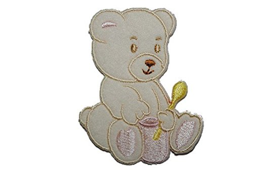 5,2 cm * 6,6 cm Bügelbild Aufnäher Applikation Mädchen Baby (Topf Teddybär)
