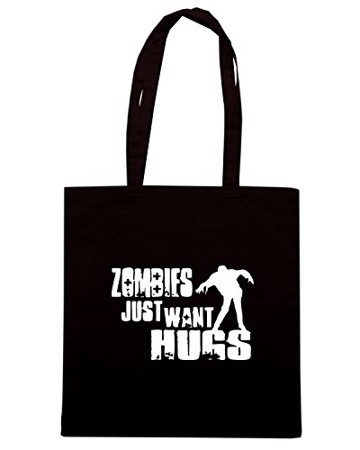 T-Shirtshock - Borsa Shopping TZOM0059 zombie just want hugs funny Nero