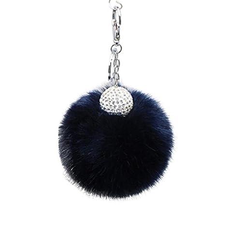 Artistic9(TM) Mode Diamant Boule de fourrure de lapin Renard Porte-clés Sac à main en peluche Voiture Porte-clés Pendentif Clé, bleu marine, 10 cm