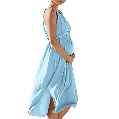 Pingtr - Damen Umstandskleider Sommer,Frauen äRmelloses Schwangeres Umstandskleid Solider Rock Stillen Sexy Beach