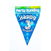Happy 3rd Birthday Flag Bunting Age Boys Blue Kids Banner Partyware Decorations