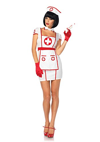 Leg Avenue 85539 3 teilig Set Krankenhaus Herzensbrecher, Damen Karneval Kostüm Fasching, S/M, weiß/rot (Krankenhaus Kleid Kostüm)