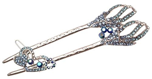 Ladies hair accessory with separate smaller clip blue diamante design by Diamante accessories -