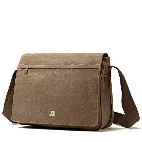 Troop London Unisex Leinen Laptop Messenger Tasche (TRP0240) - Braun, 31 x 38 x 12 cm (Unexpanded) - London Cross Body