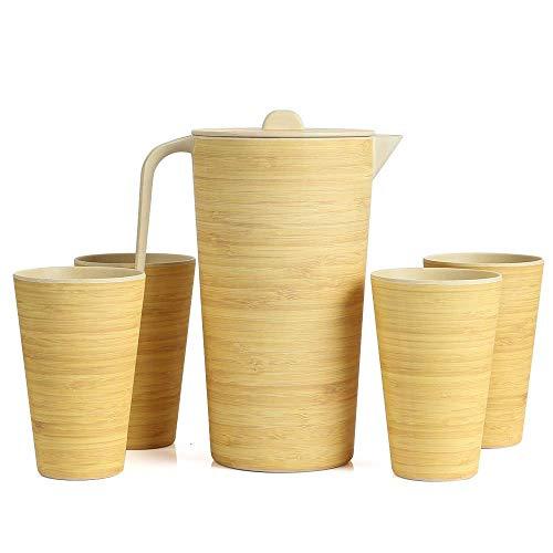 FIBERBAMBOO Juego de Jarra Redonda más 4 Vasos Conjunto de bambú Biodegradable Respetuoso con el Medio Ambiente Ecologico de Fibra de Bamboo, para niños Infantil Segura.