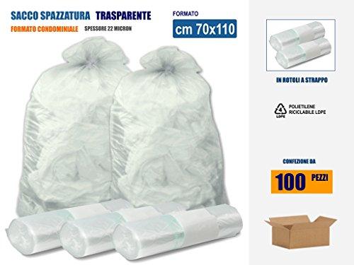 SACCHI SPAZZATURA TRASPARENTI IN PLASTICA PE-LD Cm 70x110 (110 litri) - SCATOLA DA 100 SACCHETTI