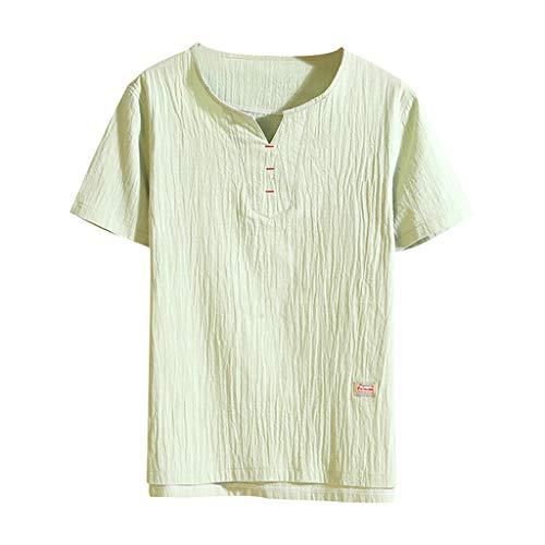 Zolimx Herren Leinen Hemden Kurzarm T Shirts, Männer Sommer Lässige Mode Reine Farbe Bettwäsche aus Baumwolle Kurzarm T-Shirts Tops - Designer Elegante Shirt Aus Baumwolle