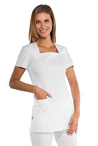 Isacco - Tunique esthéticienne blanche Coupe cintrée et col carré stretch confort Blanc