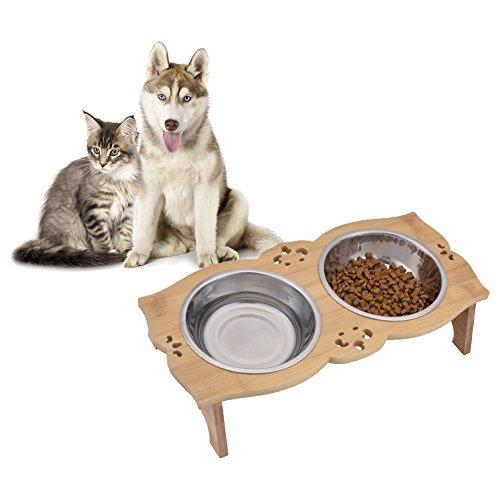 Sue Supply - Comedero Elevado Perros Gatos bambú