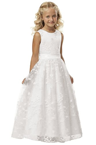 Babyonlinedress® Lang Tüll Hochzeit Fest Blumenmädchenkleid Kinderkleid Mädchen Kommunionkleid Prinzessin Kleid Weiß 4~5 Jahre
