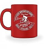 Shirtee Hochwertige Tasse - Rennradfahrer Fahrrad Fahrradfahrer Rennrad Radsport 3 Dinge um glücklich zu sein