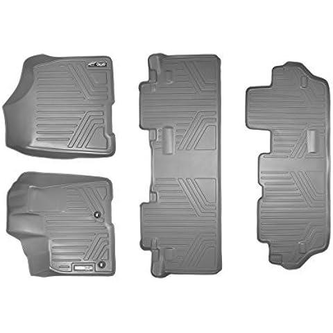 Maxliner MAXFLOORMAT Three Row Set Custom Fit All Weather Floor Mats For Select Toyota Sienna Models - (Grey) by MAXLINER
