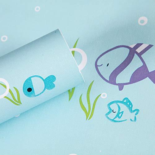YIWAN Adesivi murali Adesivi Rimovibili Carta da Parati autoadesiva Impermeabile e Resistente all'olio Arte Camera da Letto Cucina Bagno Muro murale Camera dei Bambini Pesce Azzurro?