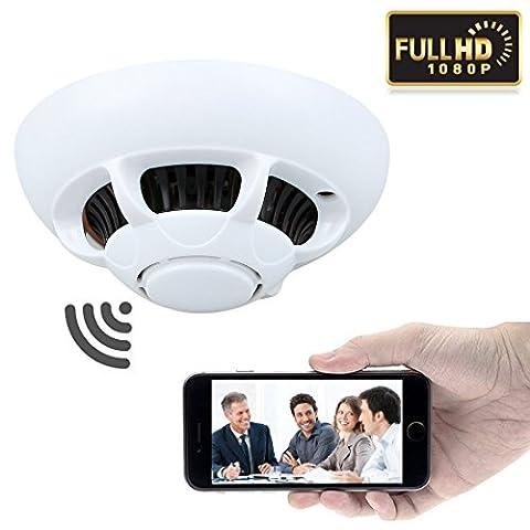 GZDL HD 1080P P2P Wifi Wireless Hidden Camera Smoke Detector Internet Spy Camera Video Recorder Indoor DV Camcorder for Home Cars Bathrooms Kids Remote View