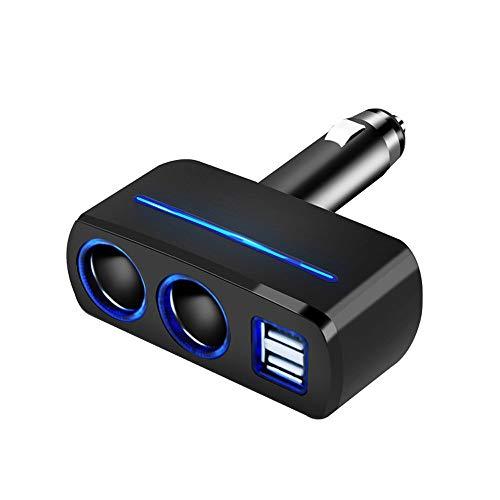 CAOQAO Adattatore di Ricarica ad Alta velocità per Auto Dual USB da 40W con Accendisigari Dual Hole/Compatibile con Vari Dispositivi di Interfaccia USB/Nero