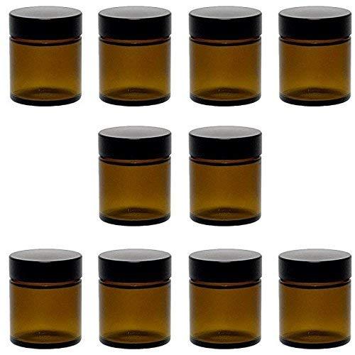 Viva-Haushaltswaren 10 kleine Glastiegel 30 ml / Salbentiegel / Cremetiegel aus Braunglas, inkl. Etiketten