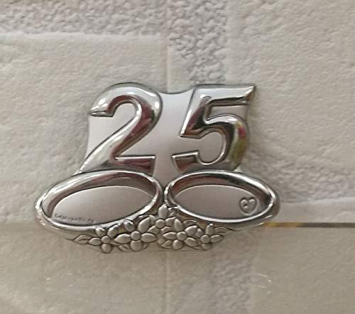 Spilla piccola in argento laminato 25 anni di matrimonio nozze d argento