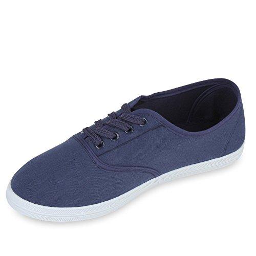 Sportliche Damen Herren Sneakers | Unisex Basic Freizeit Schuhe | Schnürer Stoffschuhe | Prints viele Farben Blau