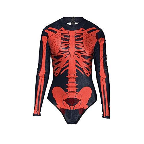 Bornbayb costume da bagno costumi cosplay costumi halloween costume intero con stampa a sangue scheletro manica lunga donna
