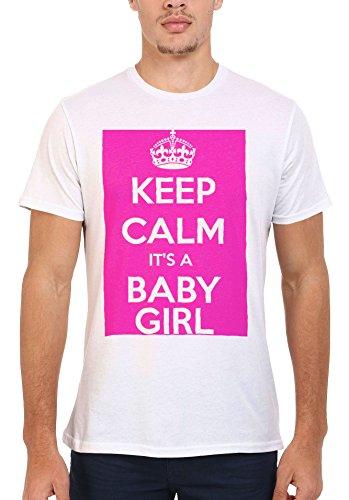 Keep Calm it is a Baby Girl Maternity Men Women Femme Homme Unisex Top T Shirt .Blanc