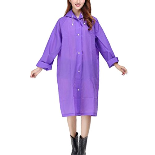 Zhhlinyuan Adult Outdoor Waterproof PVC Poncho Hooded Long Sleeve Raincoat purple