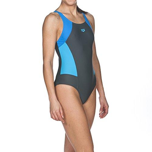 arena Damen Sport Badeanzug REM, Shadow Grey-Pix Blue-Turquoise, 42