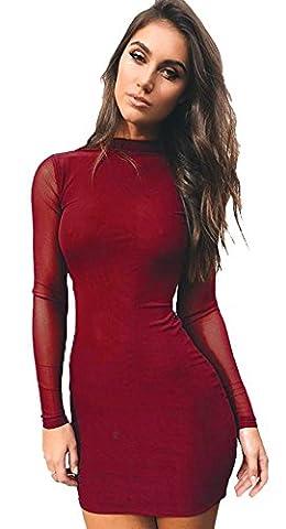 Longwu Women's Sexy Long Sleeve Mesh Patchwork Dress See Through Evening Cocktai PartyWear Red